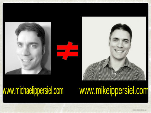 old photo of michael ippersiel and newer with domain captions
