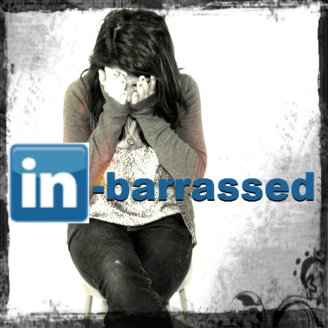 Woman embarrassed with LinkedIn logo overlay